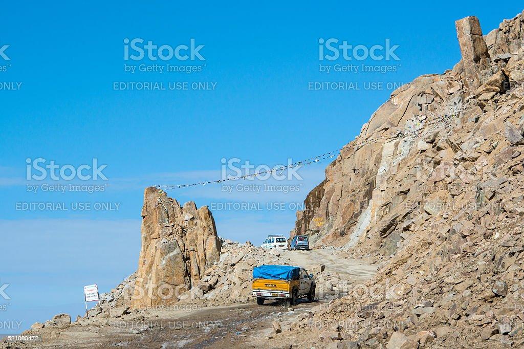 cars on the Khardung La pass, Ladakh, India stock photo