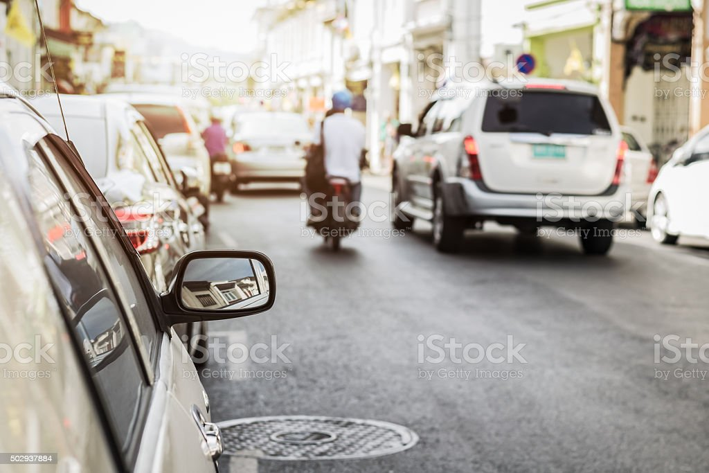 Cars on the road in the old town, Phuket, Thailand stock photo