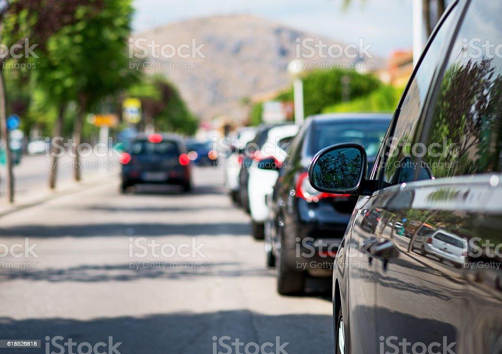 Cars parked along the street. stock photo