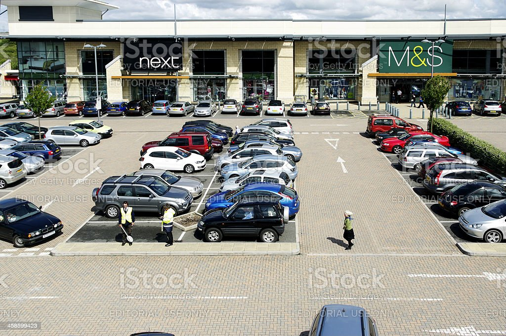 Cars Parked At West Cornwall Retail Park stock photo