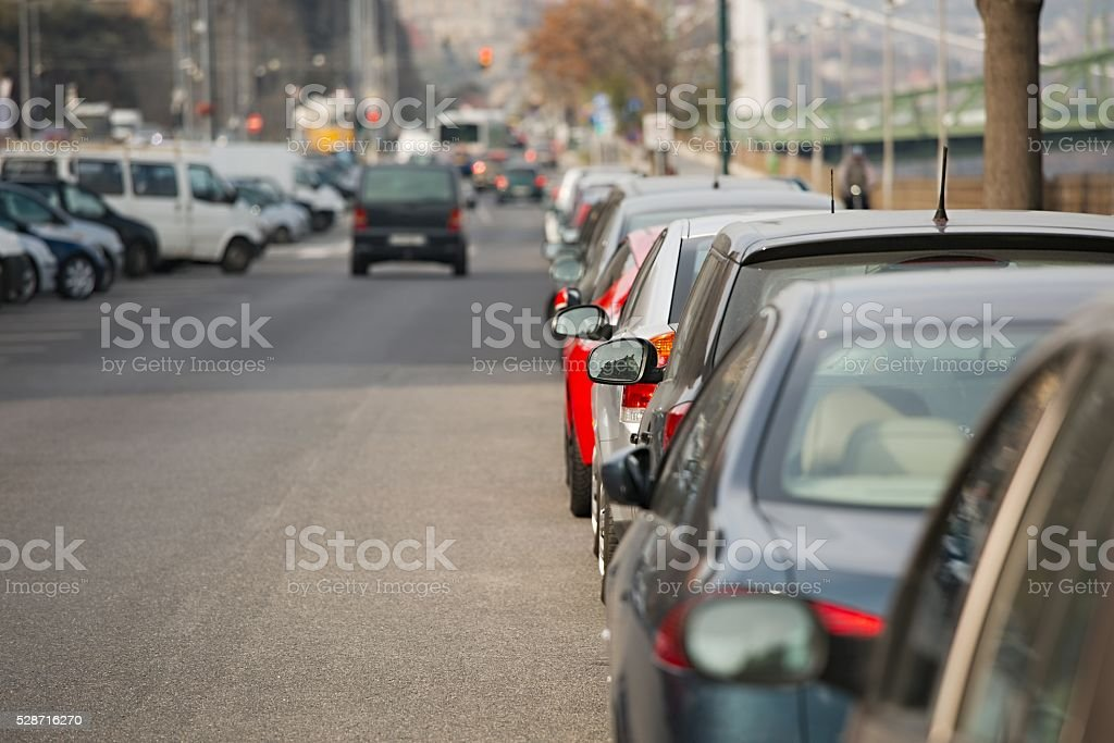 Cars Parked in a row stock photo