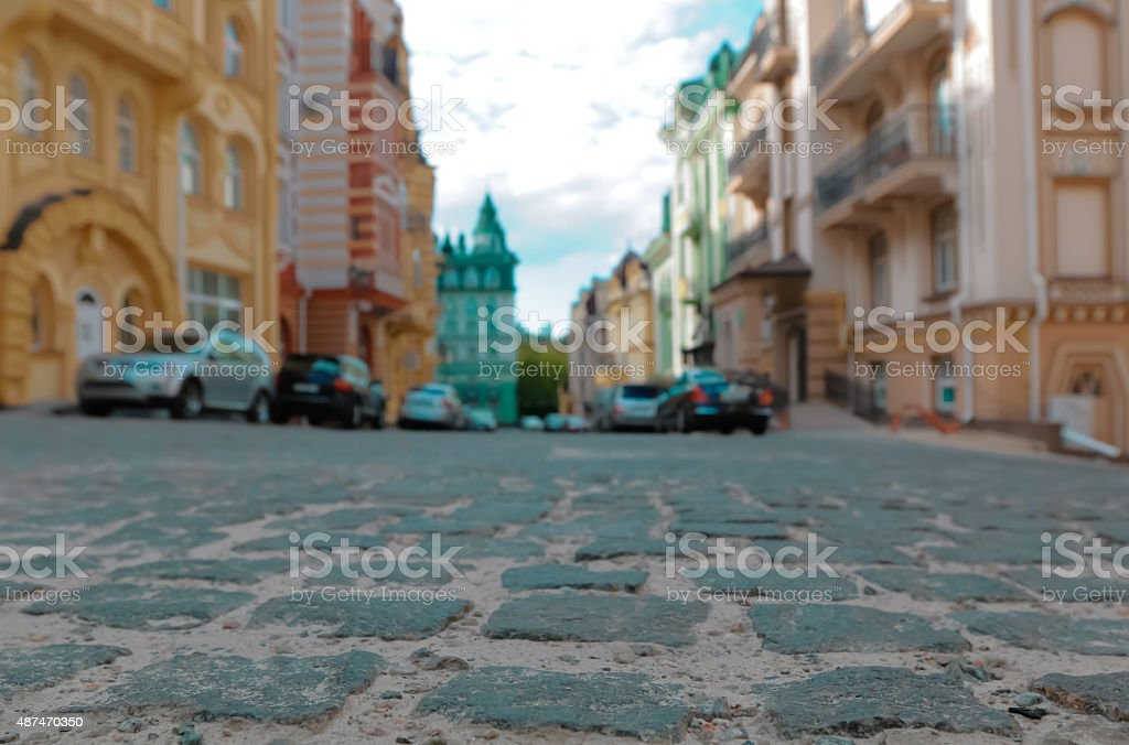 Cars parked in the old part of Kyiv stock photo