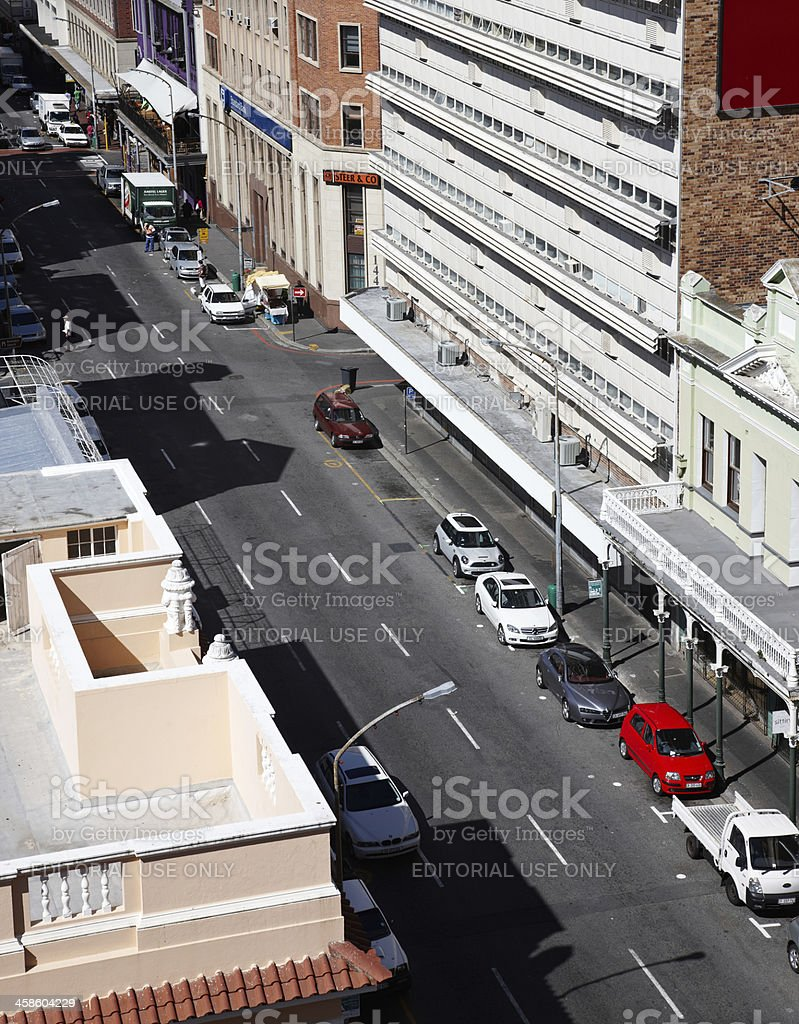 Cars parked on Loop Street in Cape Town royalty-free stock photo