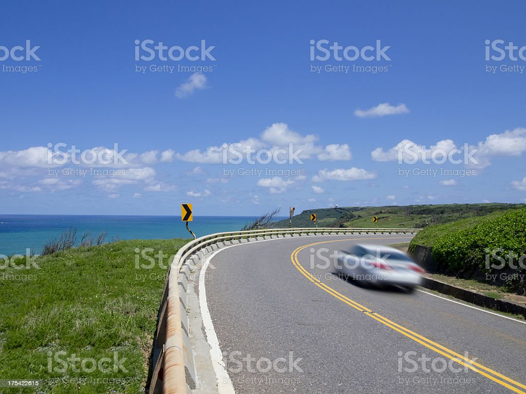 Cars Passing on a Turn royalty-free stock photo