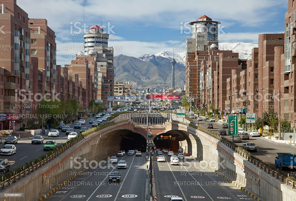 Cars Passing Through Tohid Tunnel of Tehran stock photo