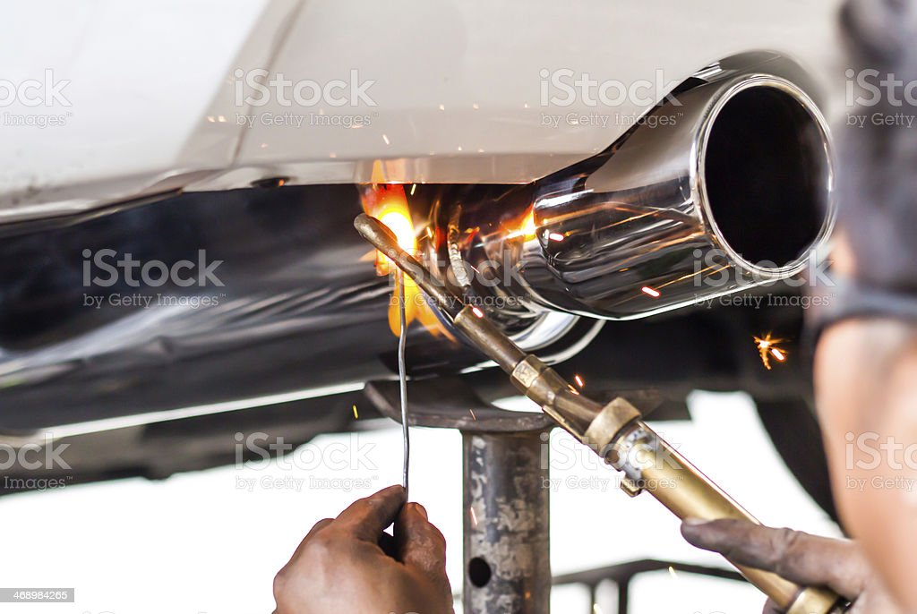 Cars pipe installation stock photo