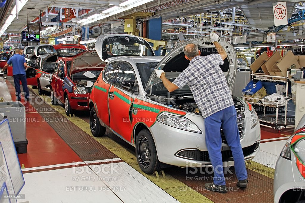 Cars production line stock photo