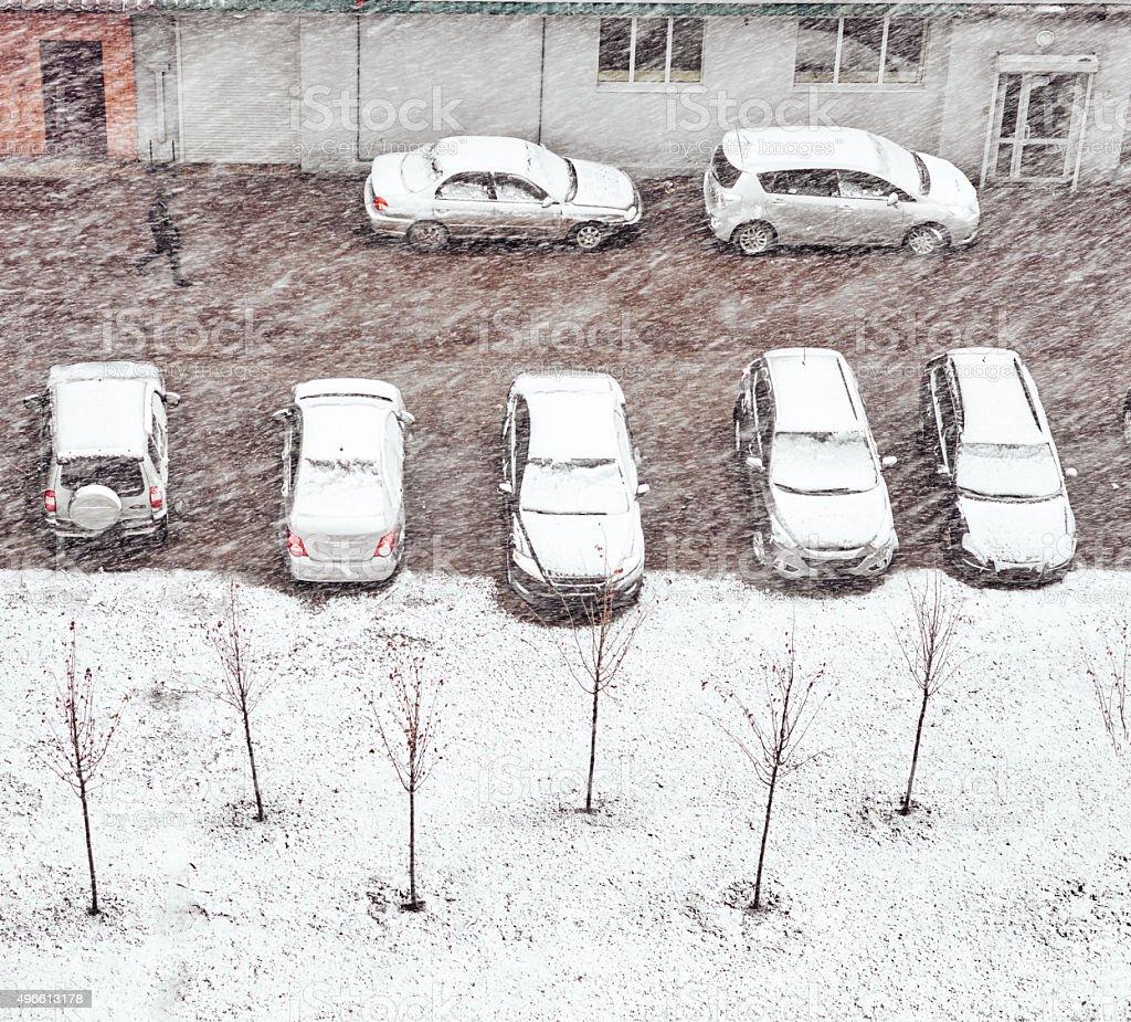 Cars snow winter sidewalk stock photo