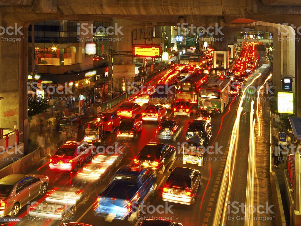 Cars stuck bumper to bumper during evening rush hour royalty-free stock photo