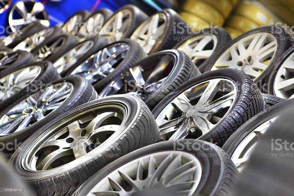 cars tire shop stock photo