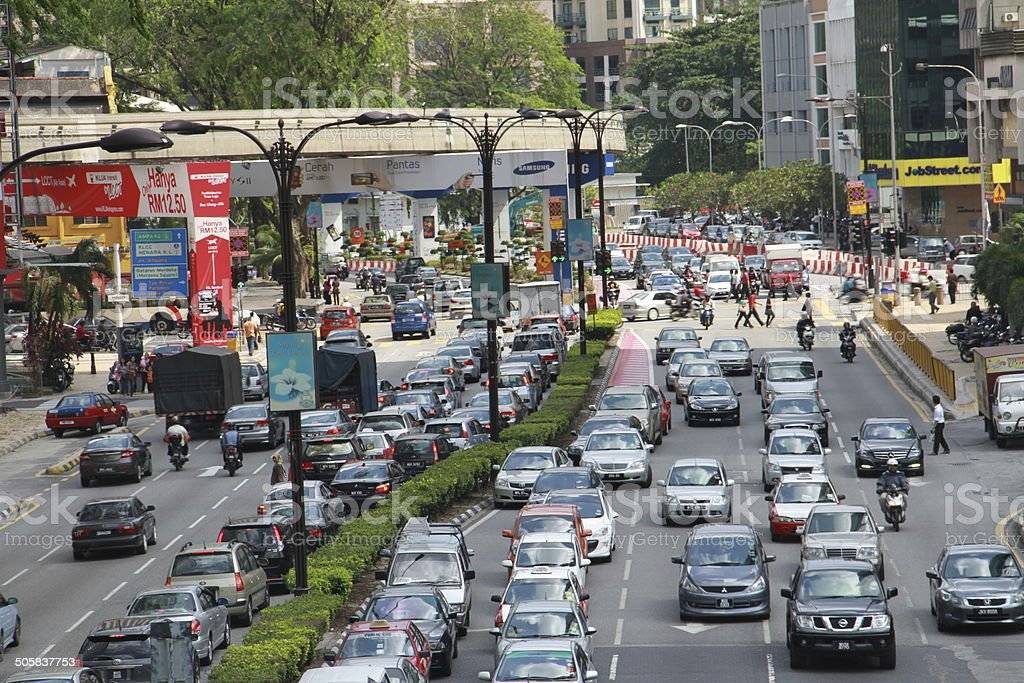 Cars &Traffic Jam & Front view of a Two-line Street stock photo