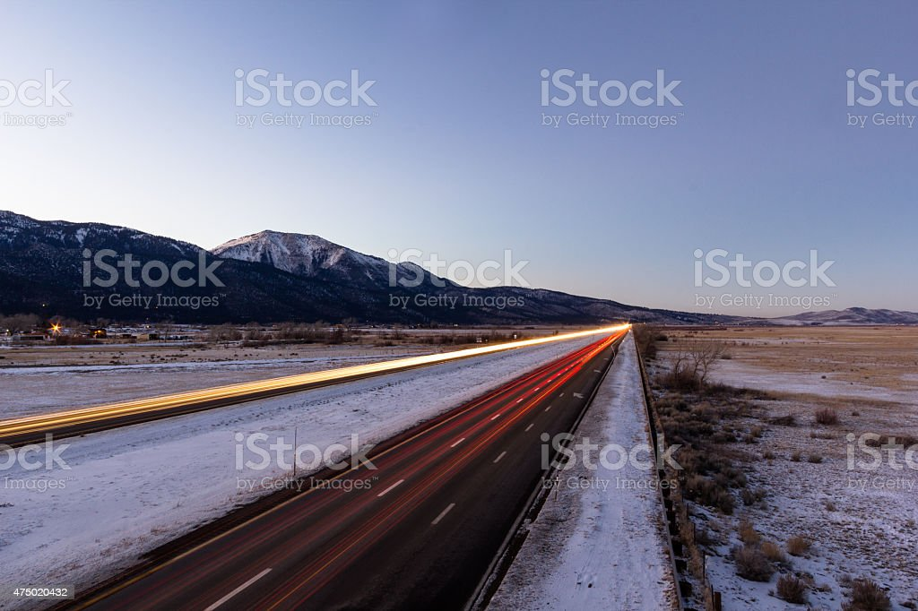 Cars traveling in Washoe Valley, Nevada stock photo