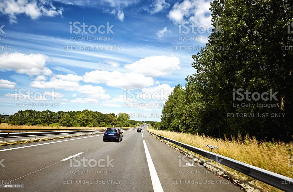 Cars travelling on French autoroute stock photo
