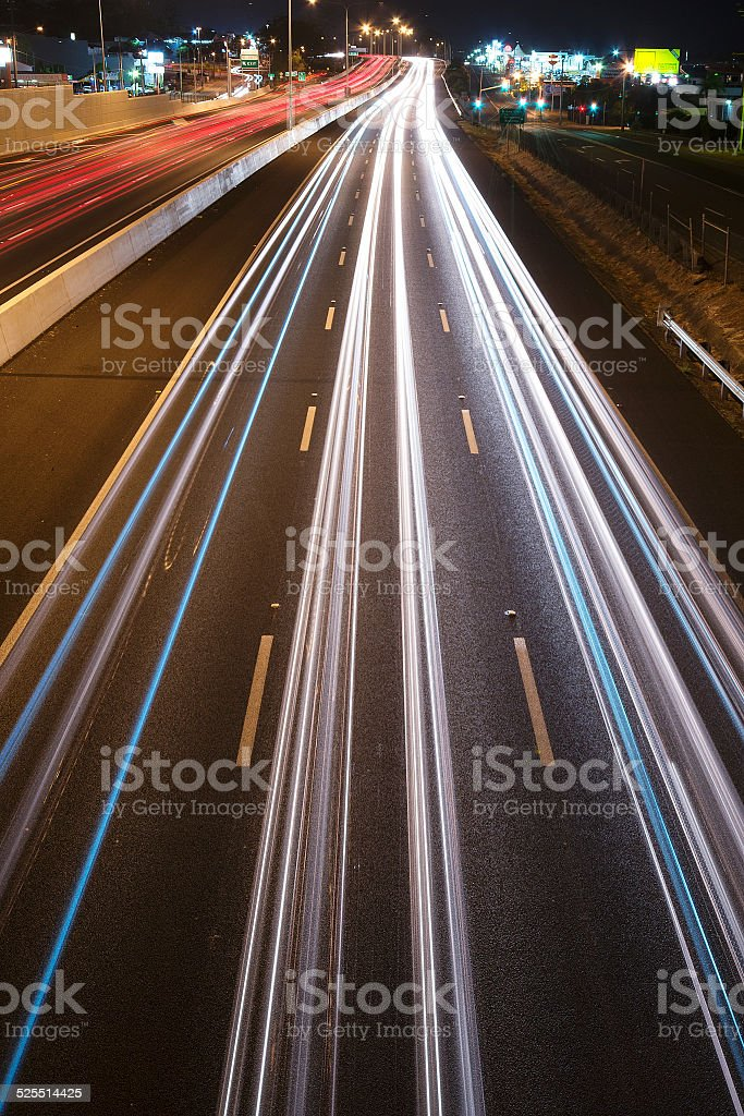 Cars travelling on the Pacific Motorway - M1 in Brisbane stock photo