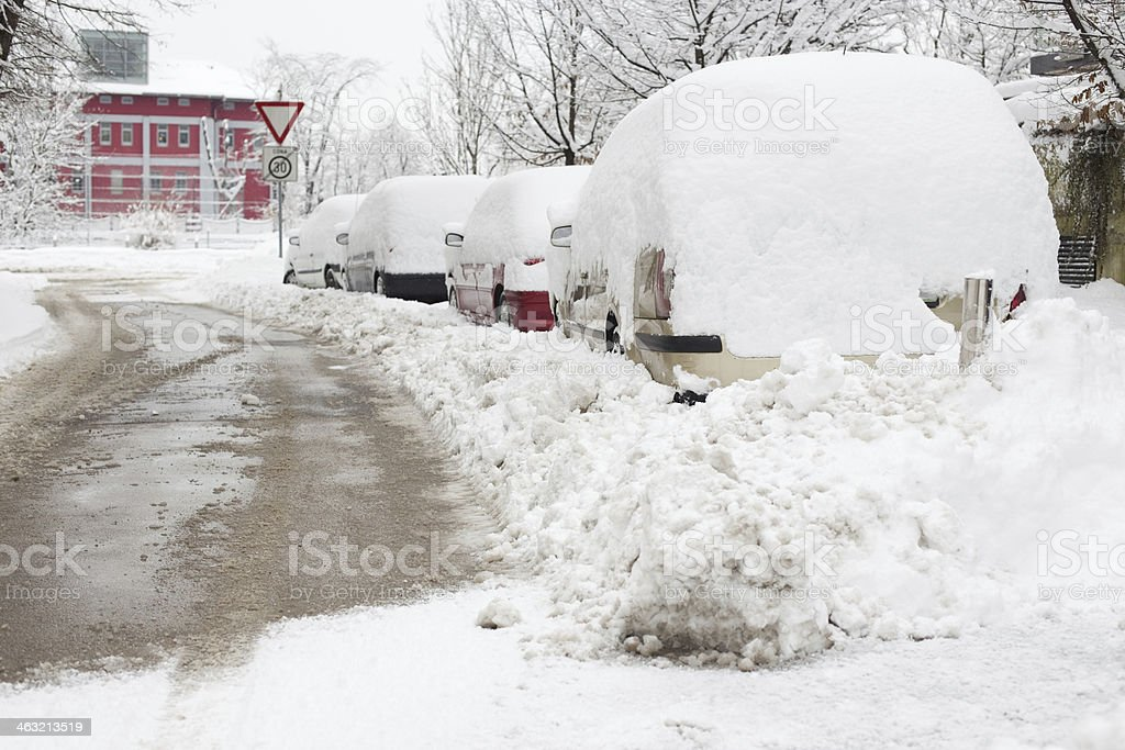 Cars under snow royalty-free stock photo
