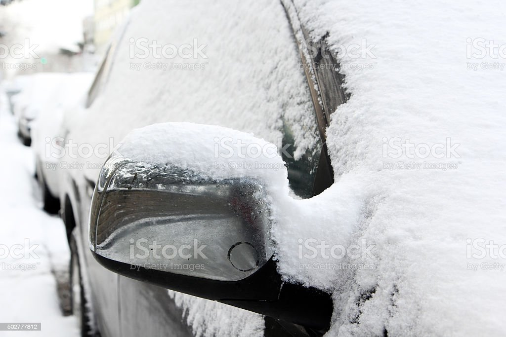Cars under the snow stock photo