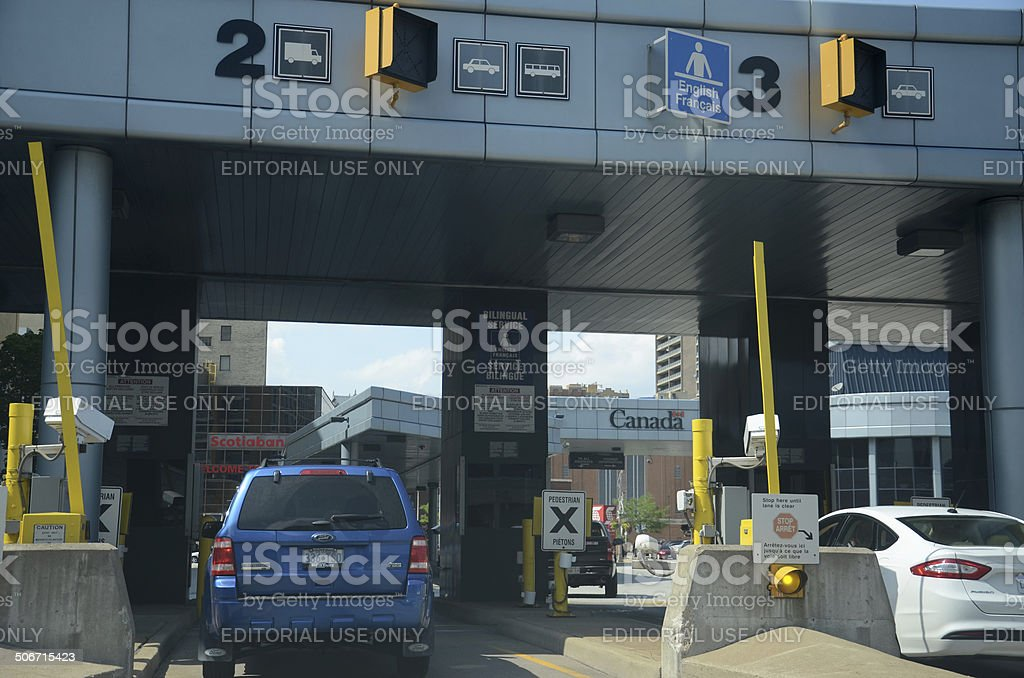 Cars wait to cross the border in Windsor, Canada stock photo