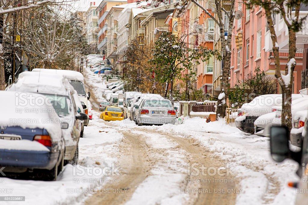 cars-City Life and Heavy Snowing at Ankara-Taxi stock photo