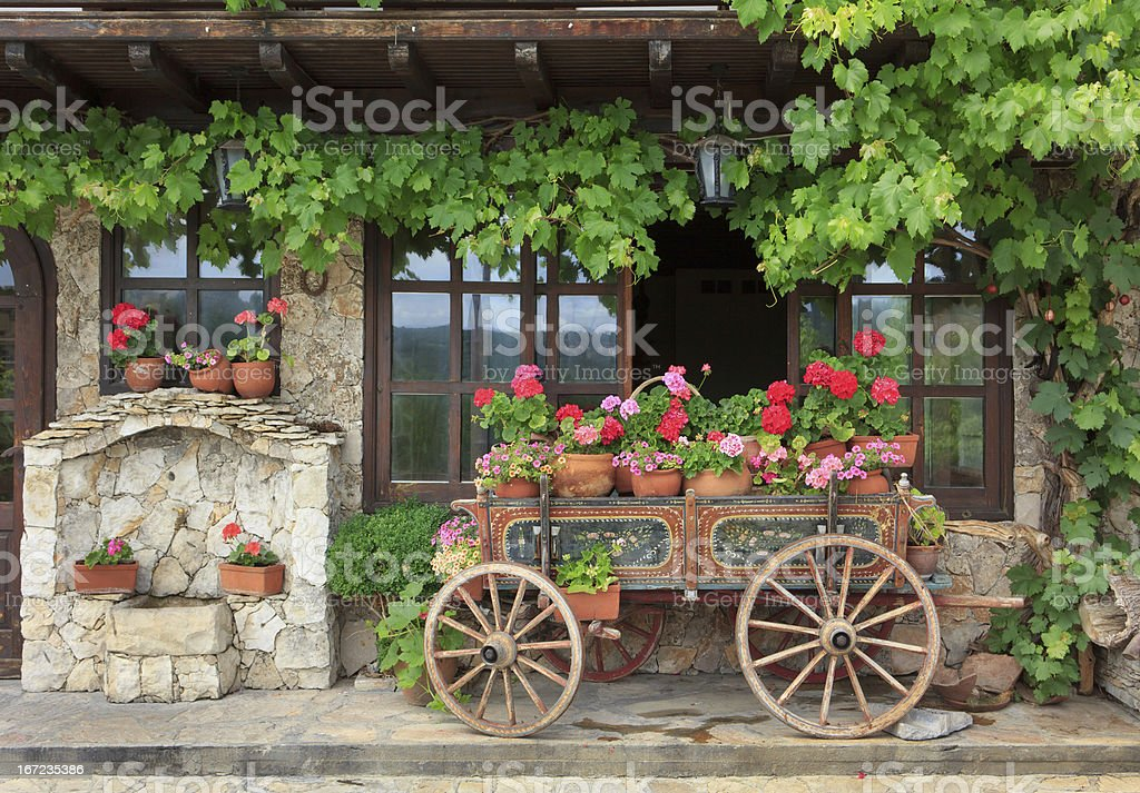 Cart and flower - countryside stock photo
