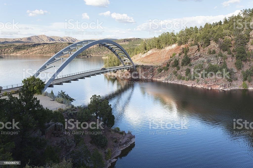Cart Creek Bridge at Flaming Gorge National Recreation Area royalty-free stock photo