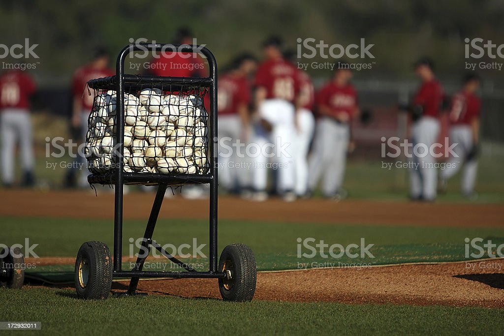 Cart of Baseballs stock photo
