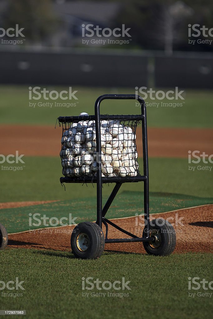 Cart of Baseballs royalty-free stock photo