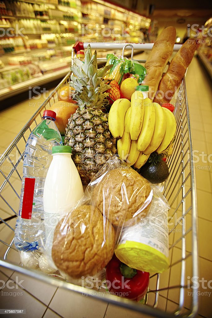 Cart of healthy products stock photo