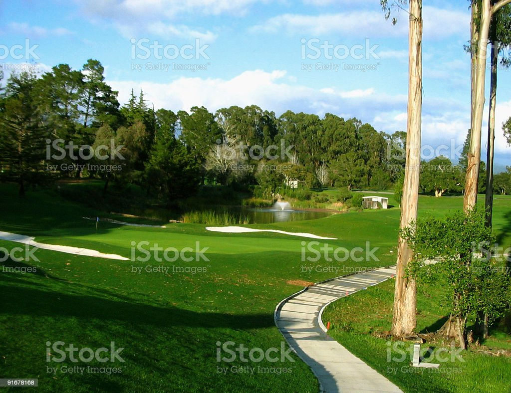 Cart path and 18th hole royalty-free stock photo