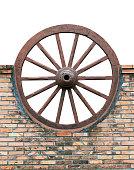 Cart wheels on masonry walls.
