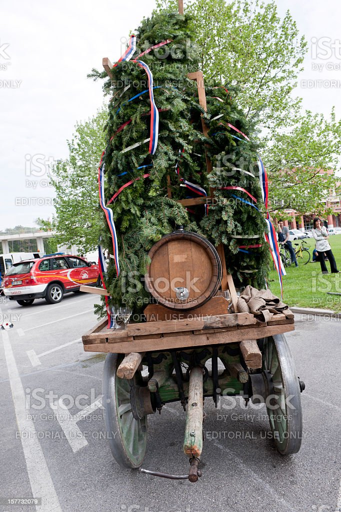 Cart with Keg and Flag Ribbons Slovenia stock photo