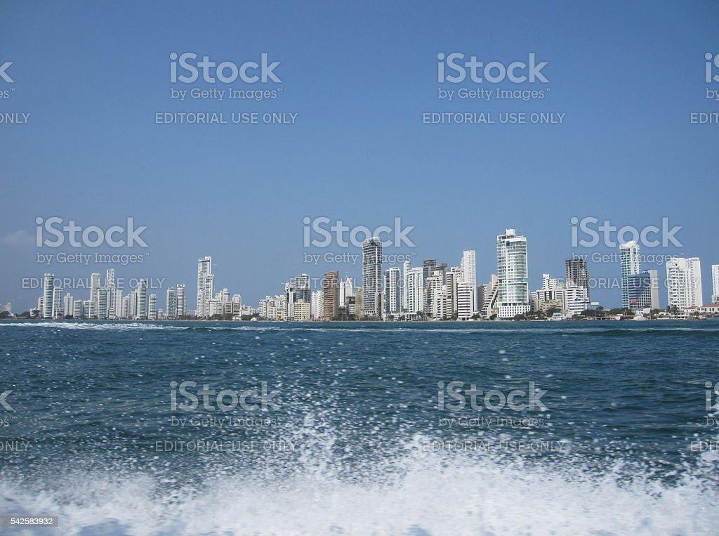 Cartagena City seen from the seaside stock photo
