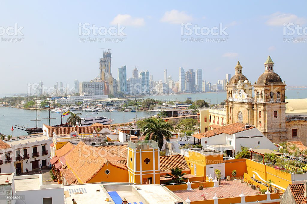 Cartagena, Colombia skyline. Historic city, bocagrande and port stock photo