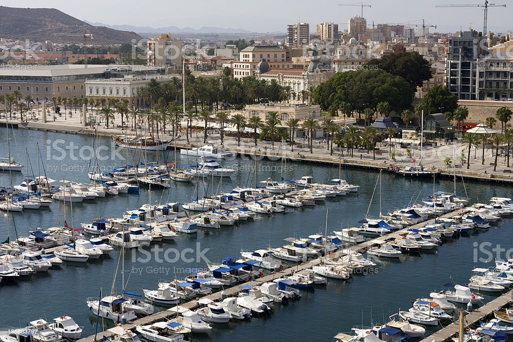 Cartagena harbour and Old Town, Spain stock photo