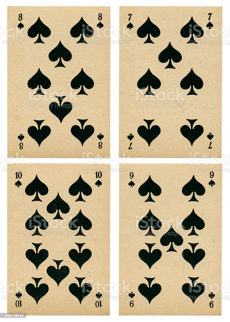 Spades seven to ten Belgian playing cards cartes marbrees stock photo