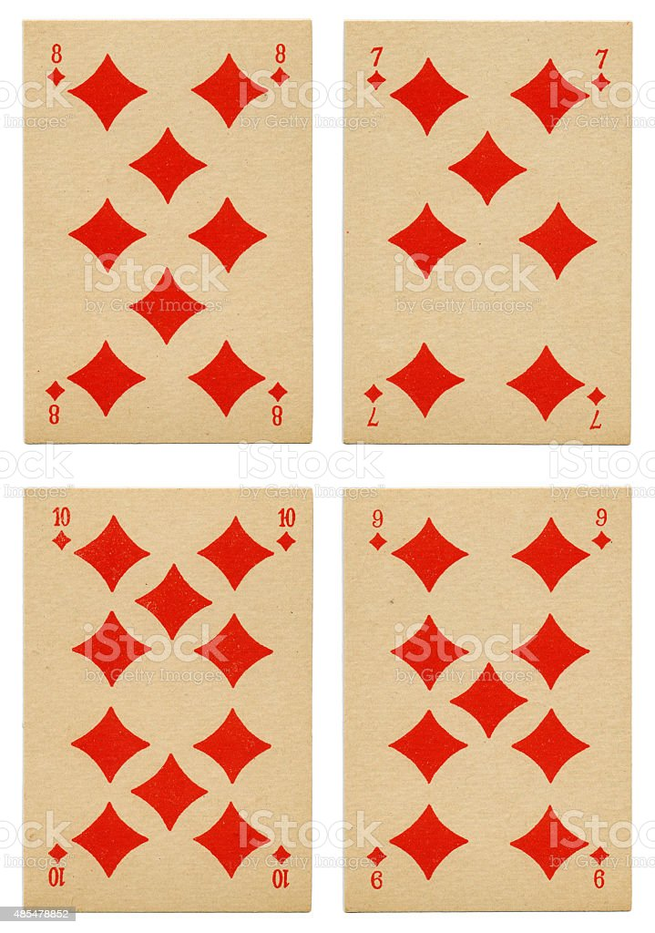Diamonds seven to ten Belgian playing cards cartes marbrees stock photo