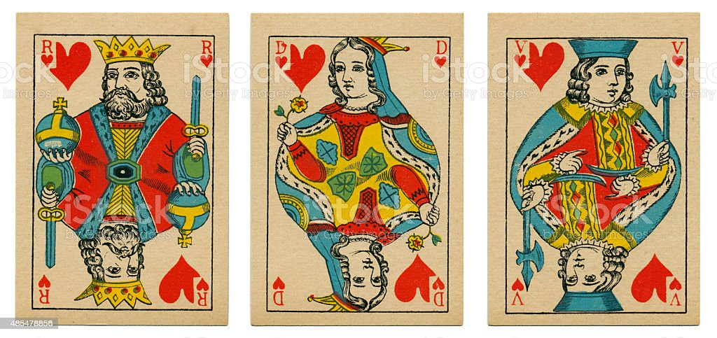 Court cards hearts Belgian playing cards cartes marbrees stock photo