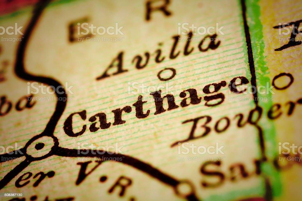 Carthage, Missouri on an Antique map stock photo