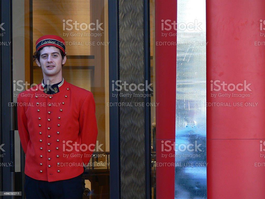 Cartier doorman stock photo