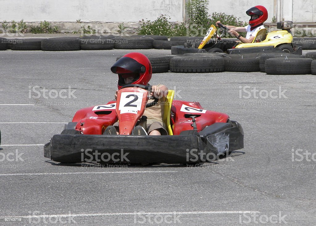 Carting cars on track royalty-free stock photo