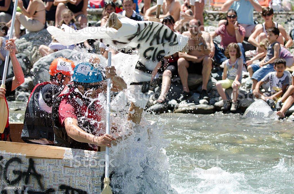Carton boat race, Rafting royalty-free stock photo