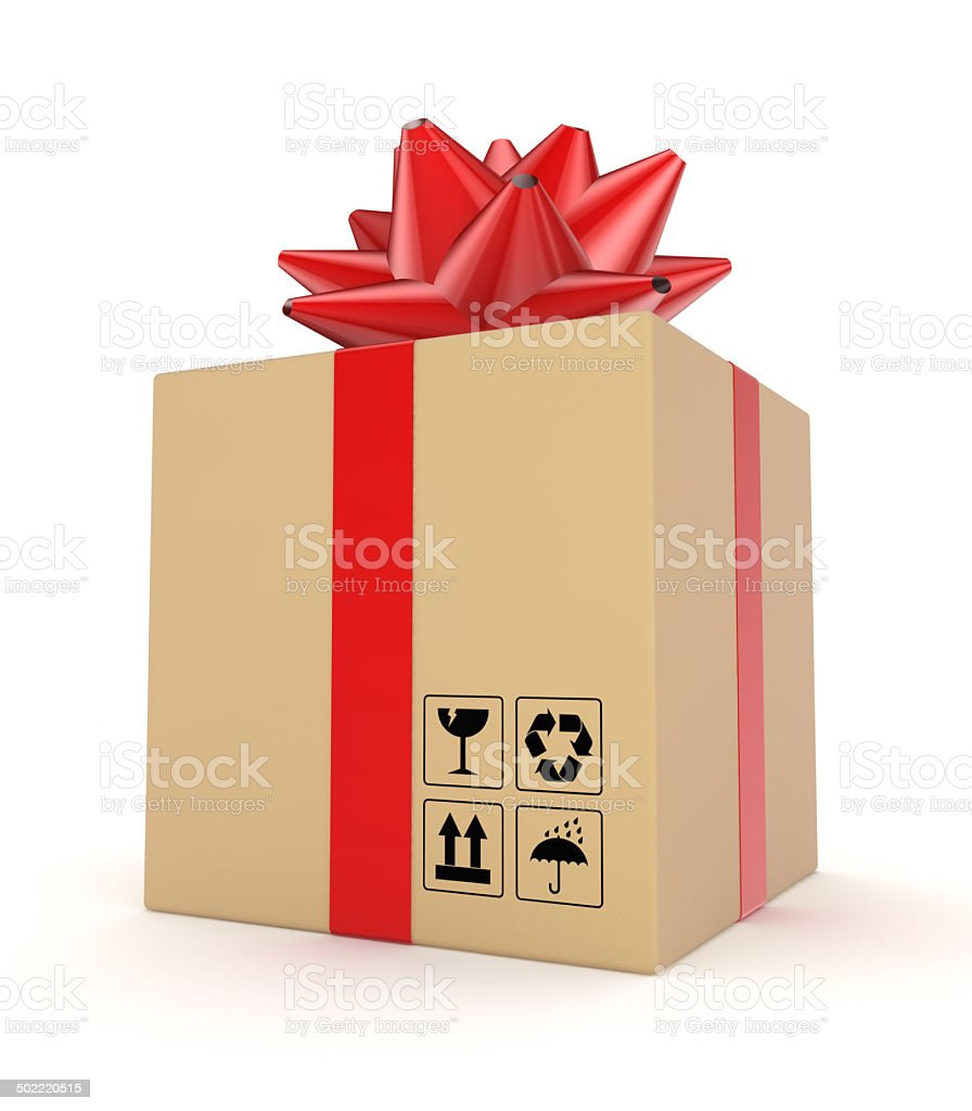 Carton box decorated with a red ribbon. royalty-free stock photo