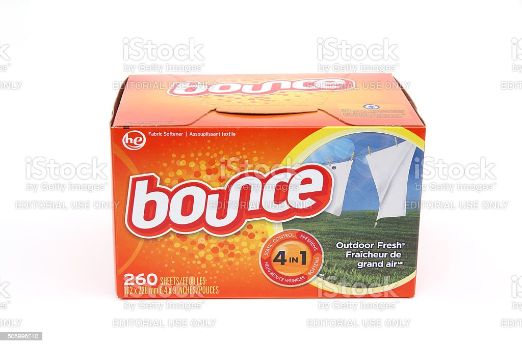 Carton of bounce fabric softener sheets on white background stock photo