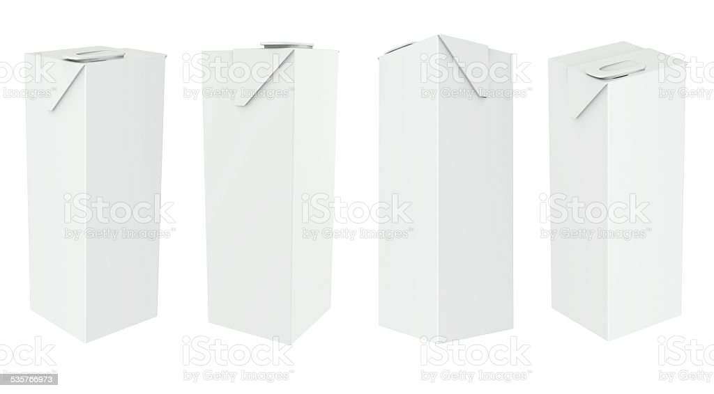 Carton Package boxes set Blank White Milk, Juice stock photo