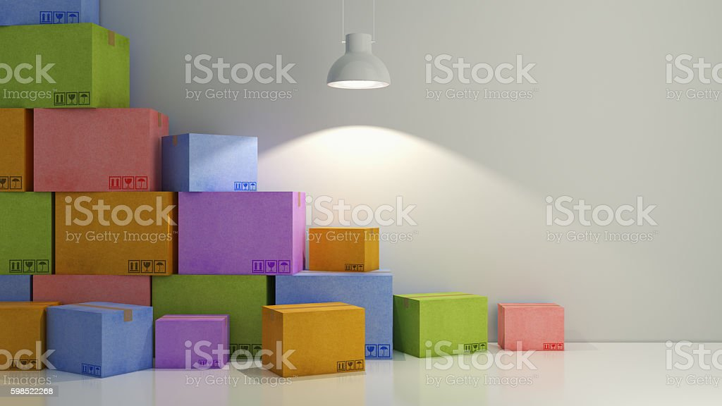 cartons of colors in empty room 3D stock photo