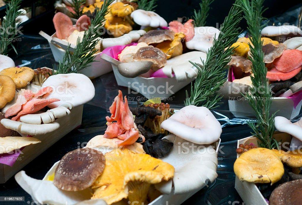 Cartons of exotic mushrooms stock photo