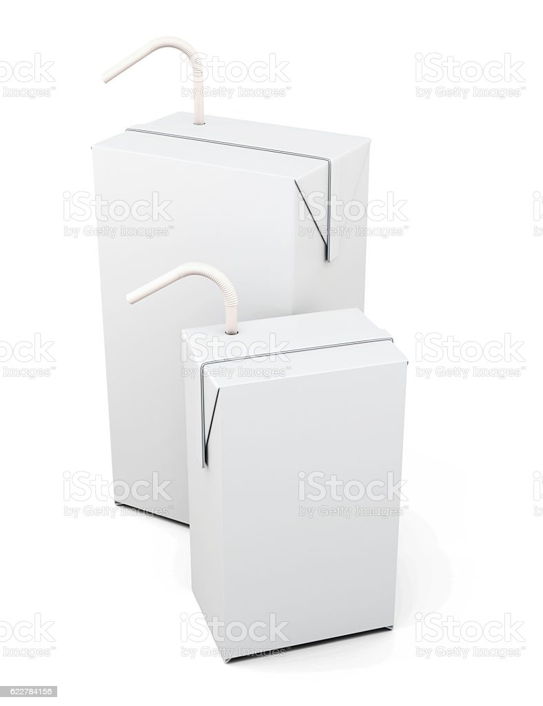 Cartons of milk or juice with the straw to drink stock photo