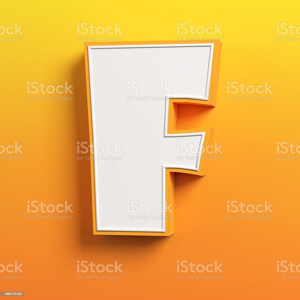 cartoon 3d font letter F stock photo