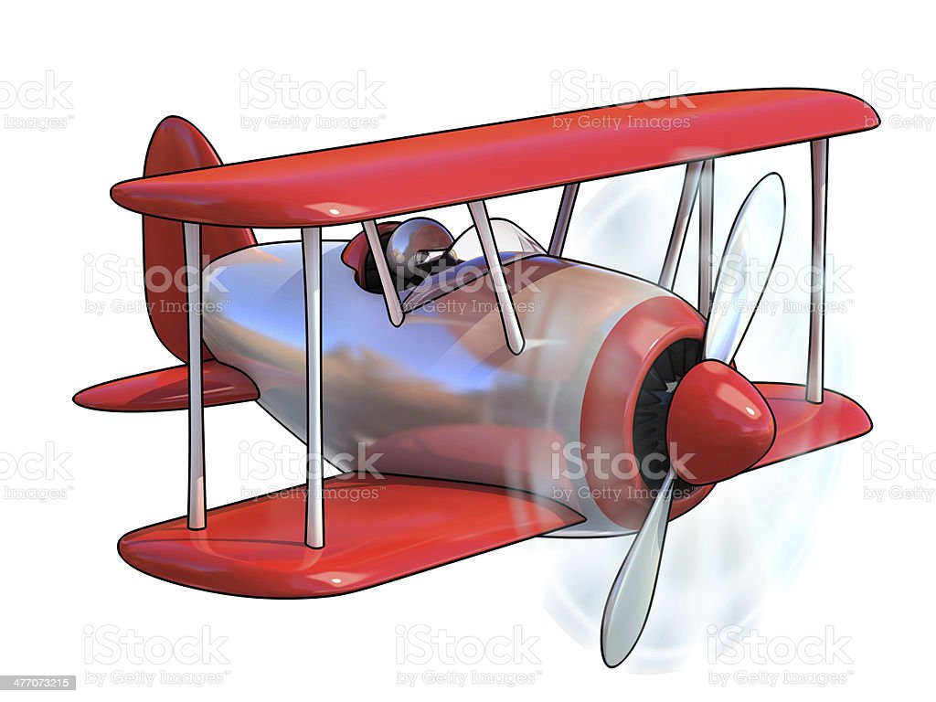 cartoon airplane 3d illustration royalty-free stock photo