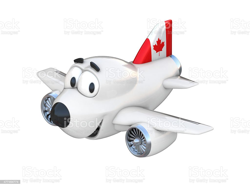 Cartoon airplane with a smiling face - Canadian flag stock photo