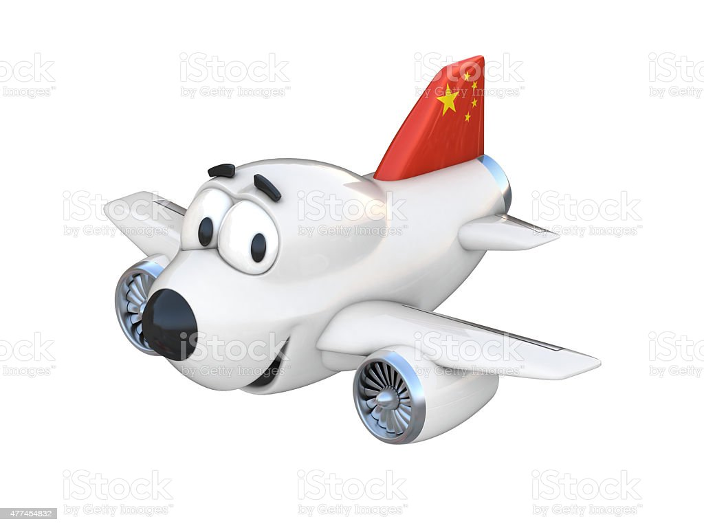 Cartoon airplane with a smiling face - Chinese flag stock photo